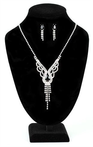 Plus Size Jewelry Set with Rhinestone Necklace and Stone Drop Earrings