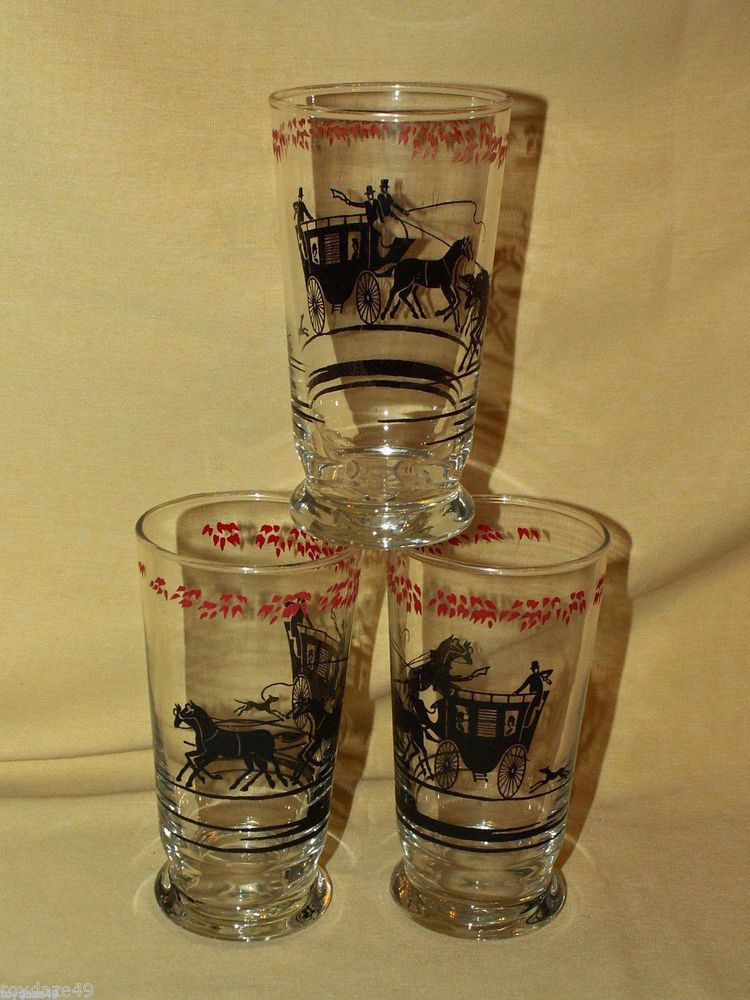 Attractive VINTAGE LIBBEY BARWARE GLASSES SET 3 BLACK SILHOUETTE CARRIAGE HORSES  TUMBLER