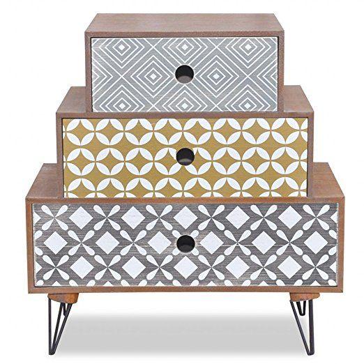 table de chevet esprit scandinave 3 tiroirs. Black Bedroom Furniture Sets. Home Design Ideas