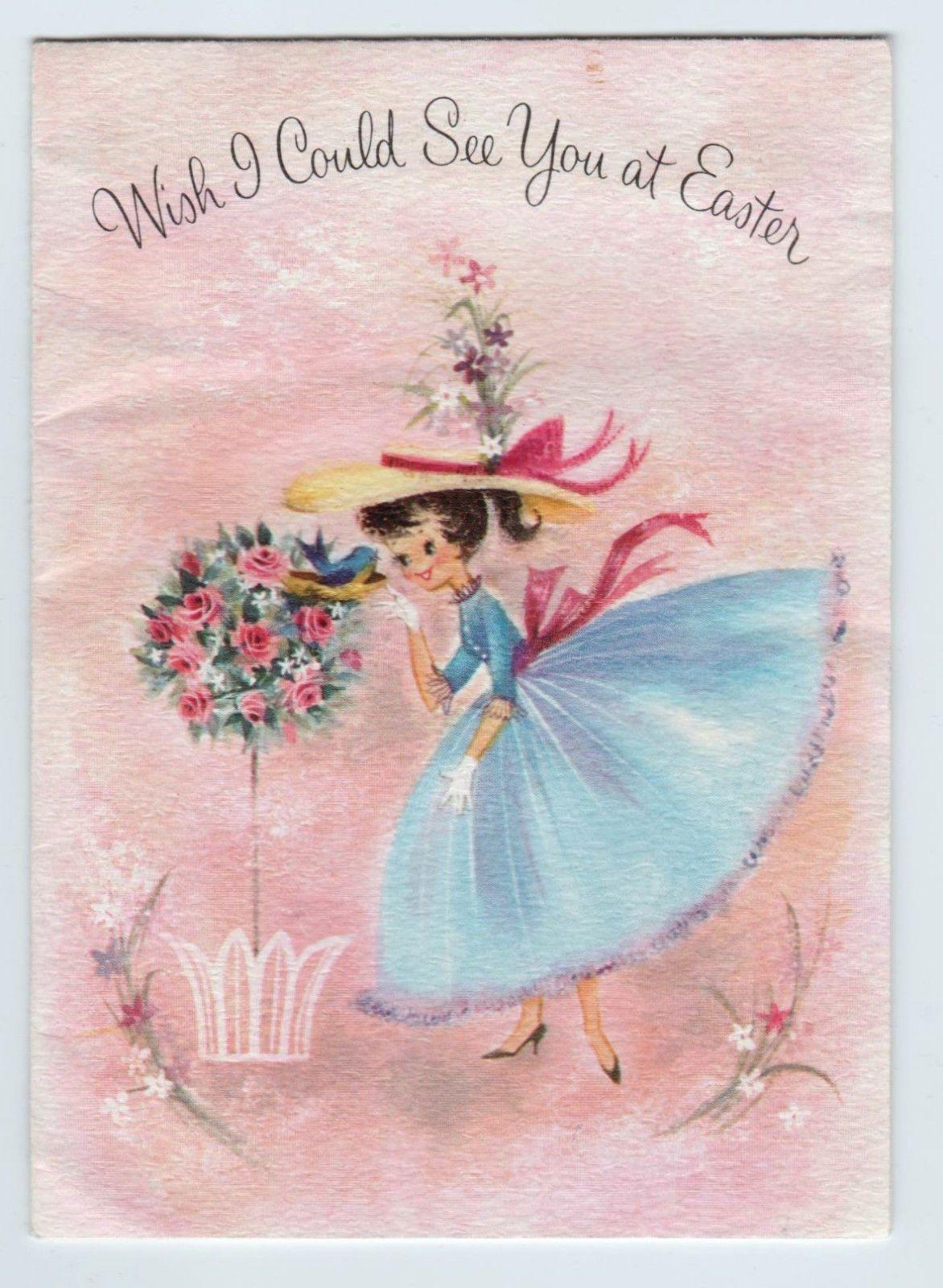 1960 S Vintage Blue Dress Little Girl Hallmark Easter Card Ebay