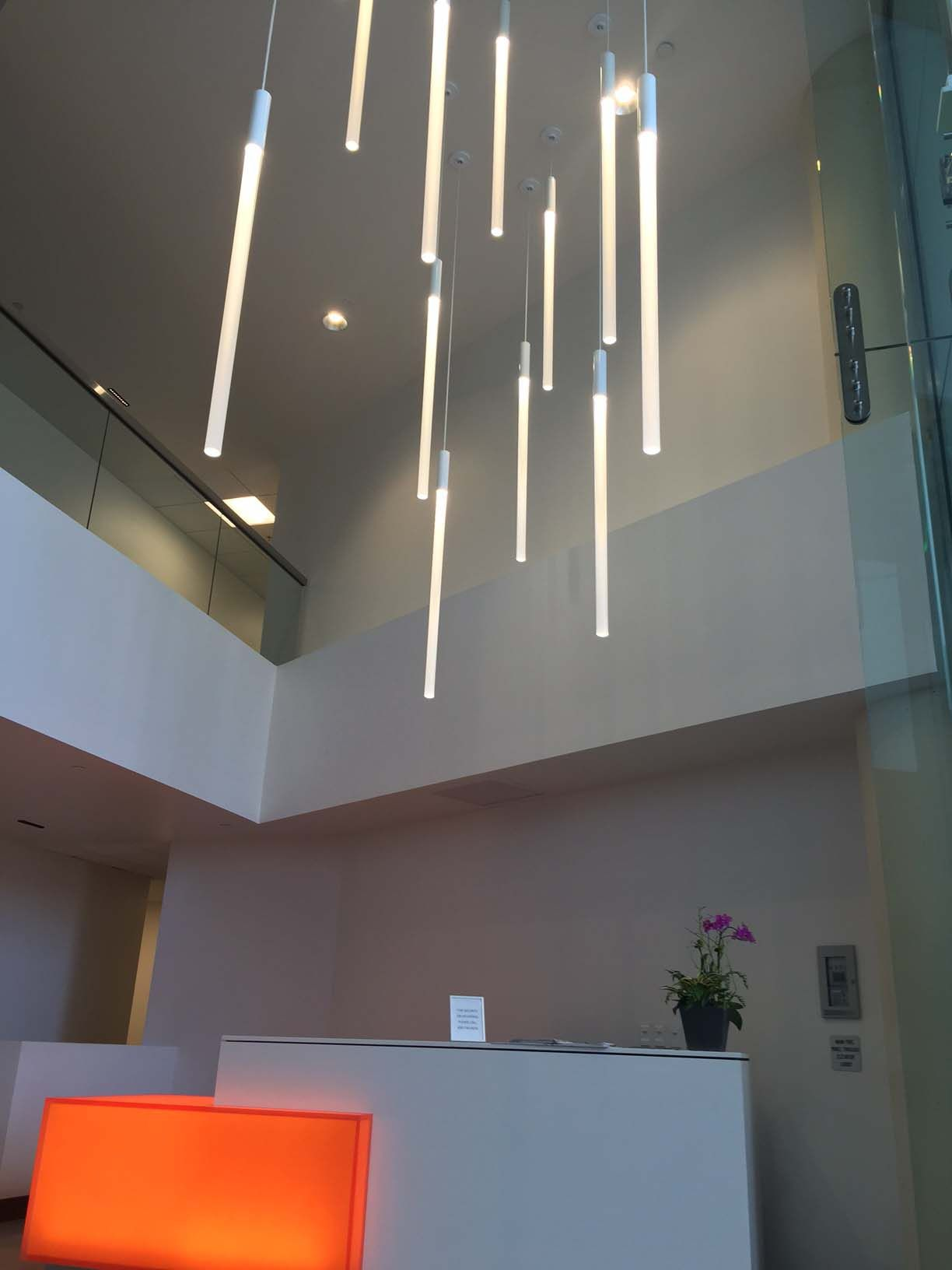 """Pavo pendant in the 2"""" diameter LED model create a clean and simple, yet"""