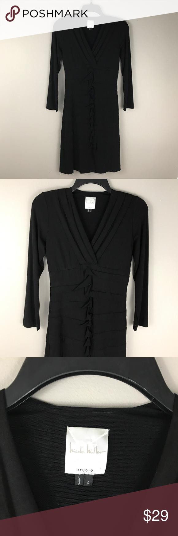 Nicole miller black ruffle front v neck dress black ruffle nicole