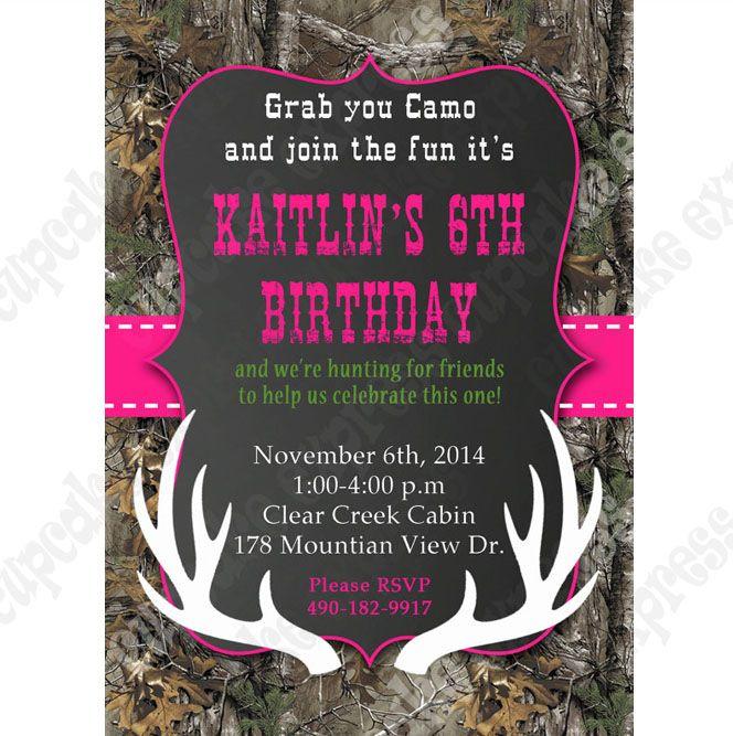 camo birthday party girl printable invitation hunting realtree diy, Birthday invitations