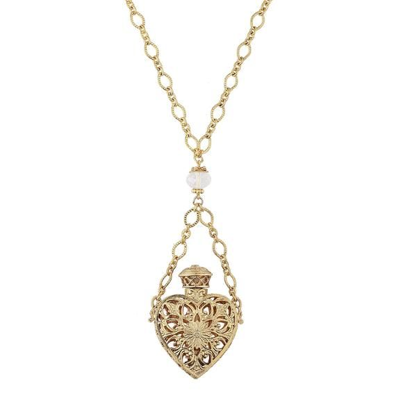 Photo of 1928 Jewelry 14K Gold Dipped Crystal Filigree Heart with Gla…
