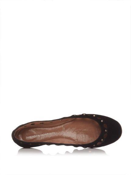 Sigerson Morrison Studded Scalloped Ballet Flat in Black Suede