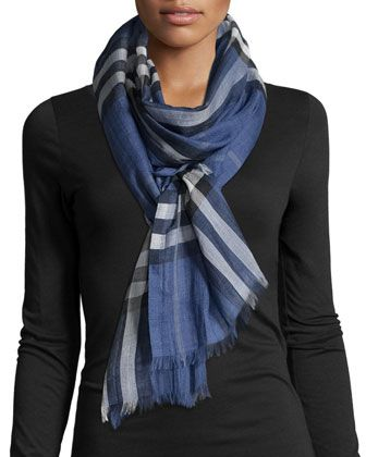 Gauze Giant Check Scarf, Thistle Blue by Burberry at Neiman Marcus.