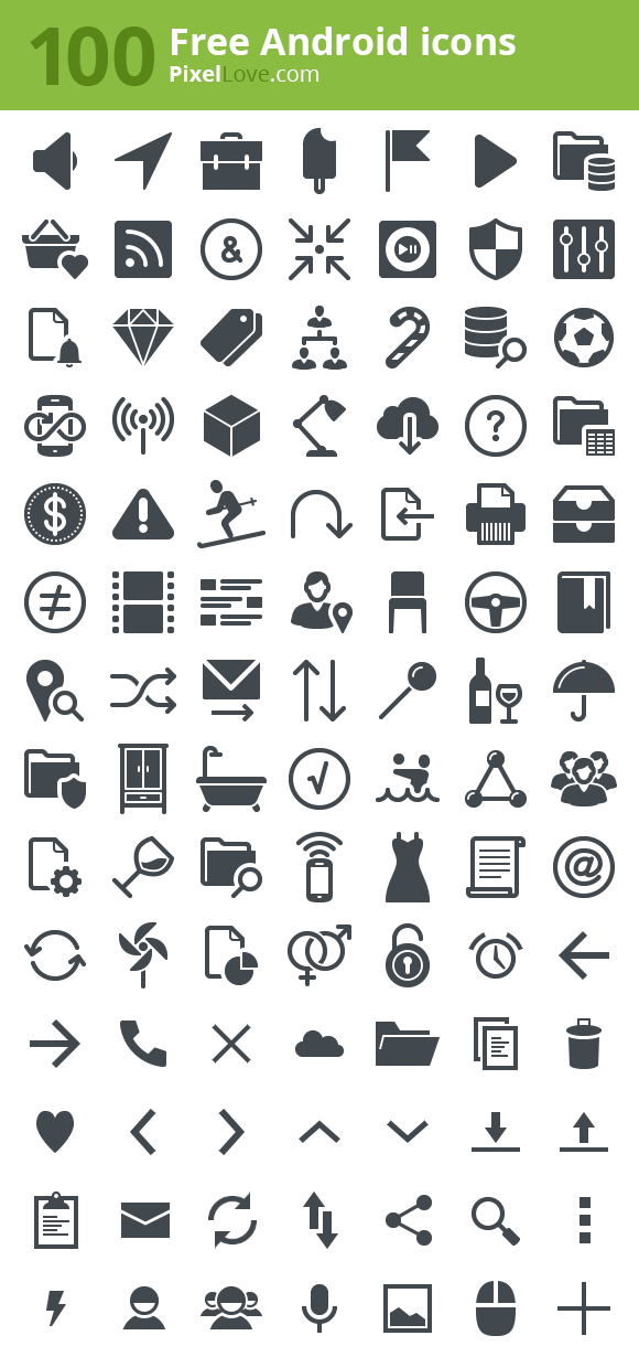 100 Free Android Icons In All Standard Sizes And Ready To Drop Into