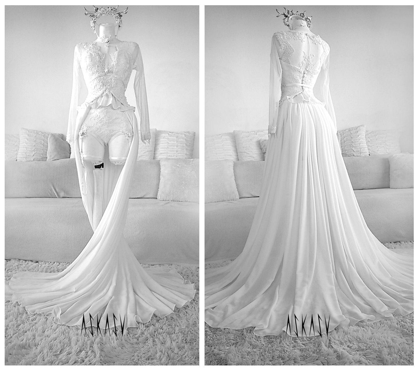 Lace dress gown  gown wedding dresss white goth hautecouture askasu pearls