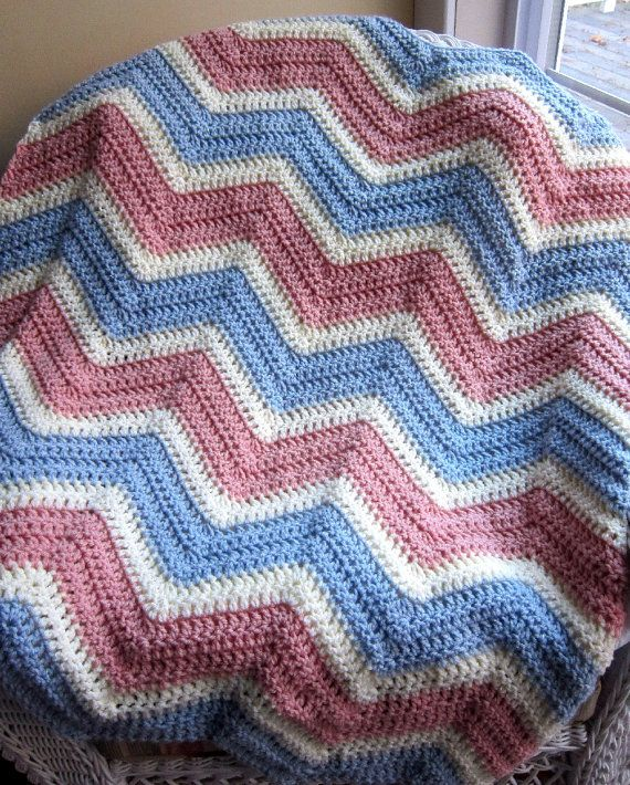 Chevron zig zag baby blanket afghan wrap by jdcrochetcreations new chevron zig zag baby blanket afghan wrap crochet knit photo prop wheelchair ripple stripes vanna white yarn pink blue cream made in usa dt1010fo