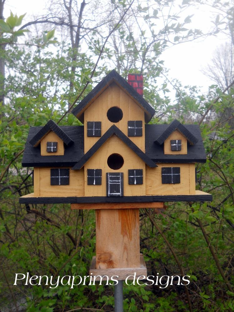 Details About Birdhouse Mansion 4 Nest Folk Art Bird