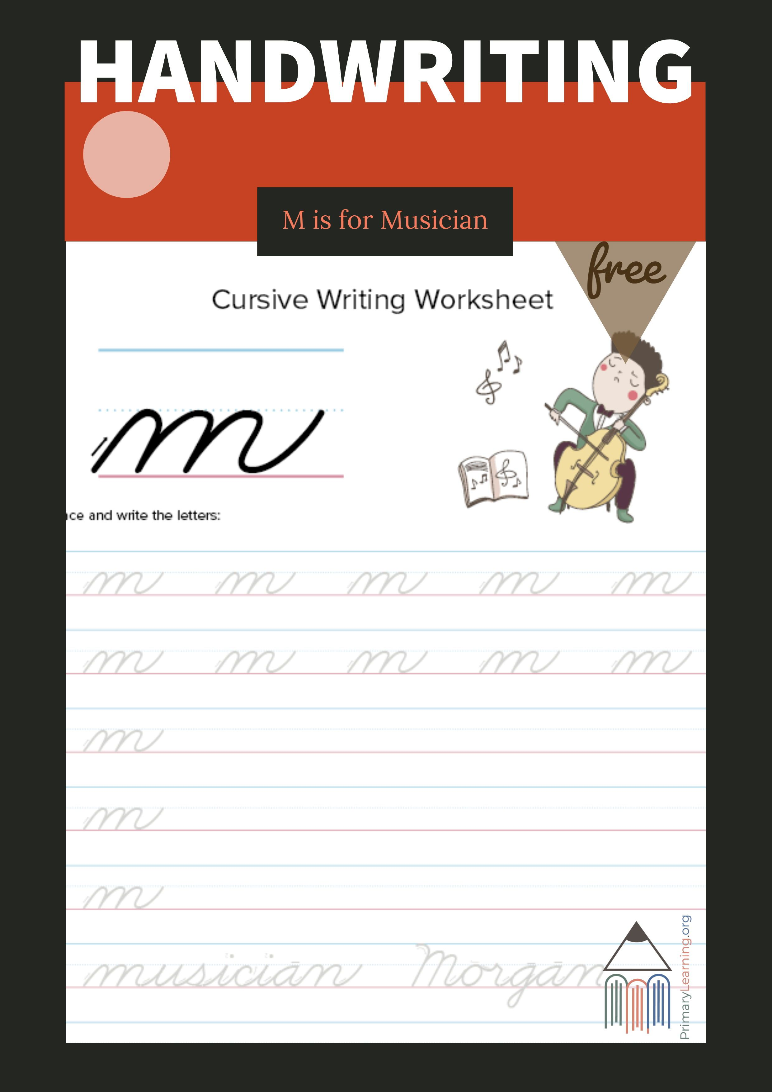 Lowercase Cursive M Worksheet