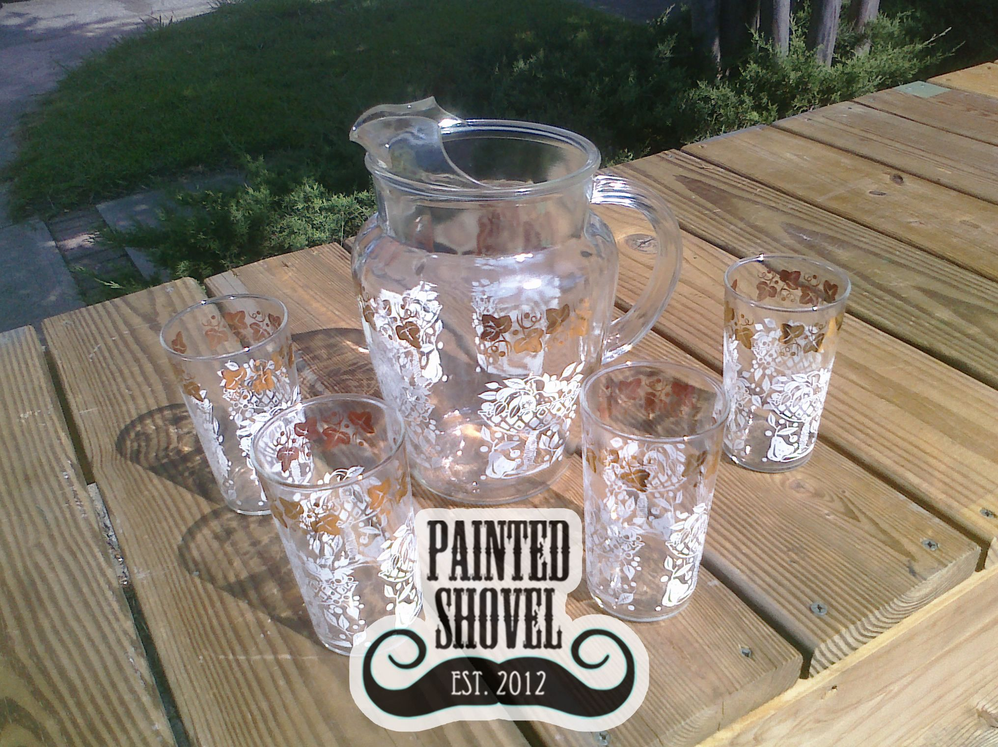 Vintage pitcher and glasses for sale at Painted Shovel in Avondale, AL.