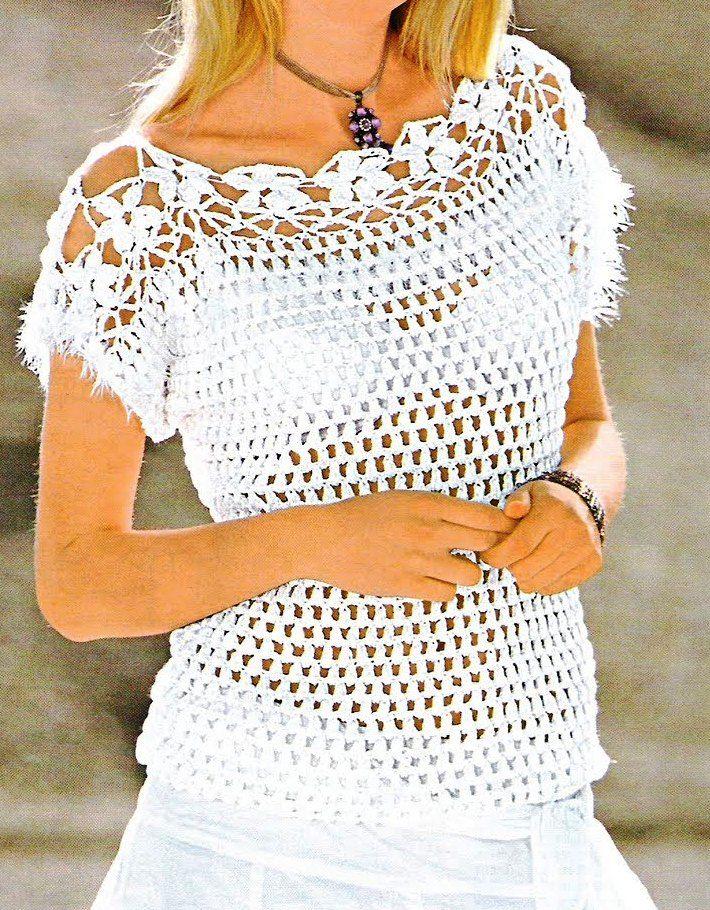 Jersey blanco con canesú de flores | Crocheted stuff | Crochet ...