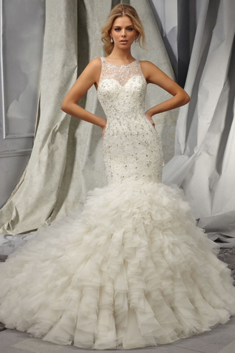 2014 Wedding Dress Scoop Mermaid Trumpet Full Beaded Tulle Bodice With Layered Organza Skirt USD