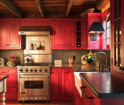 Rustic Yellow Kitchen: Traditional L-shaped Yellow Kitchen, Red Cabinets,