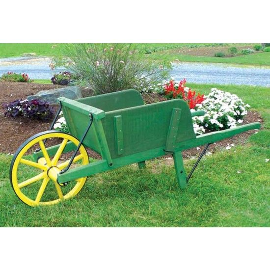 Wooden Wheel Barrels: Amish Large Green Wooden Wheelbarrow With Removable