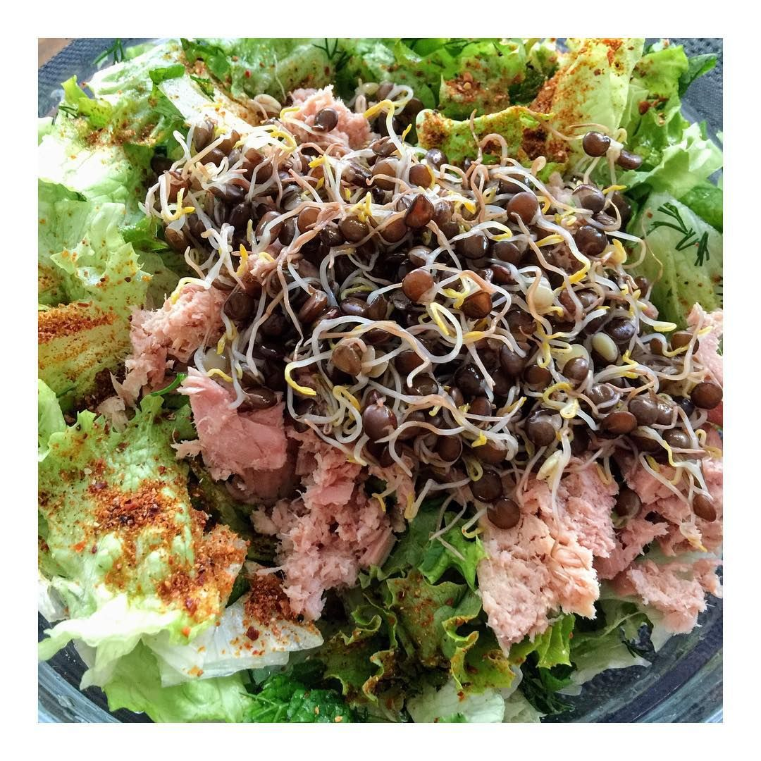Yesiller baliklar filizler🌱=🔋😊  ~  Greens, tuna and sprouted beluga lentils🌱=🔋😊  .  .  .  .  .  .  #intuitiveeating #salad #eattherainbow #foodforfoodies #lowcarb #lowGI #plantpower #plantbased #eattherainbow #lentils #sproutedlentils #sprouting #sprouts #belugalentils #fitfood #fitfam #motivation #fitspiration #salata #yemek #kiloverme #diyetteyiz #motivasyon #sagliklibeslenme