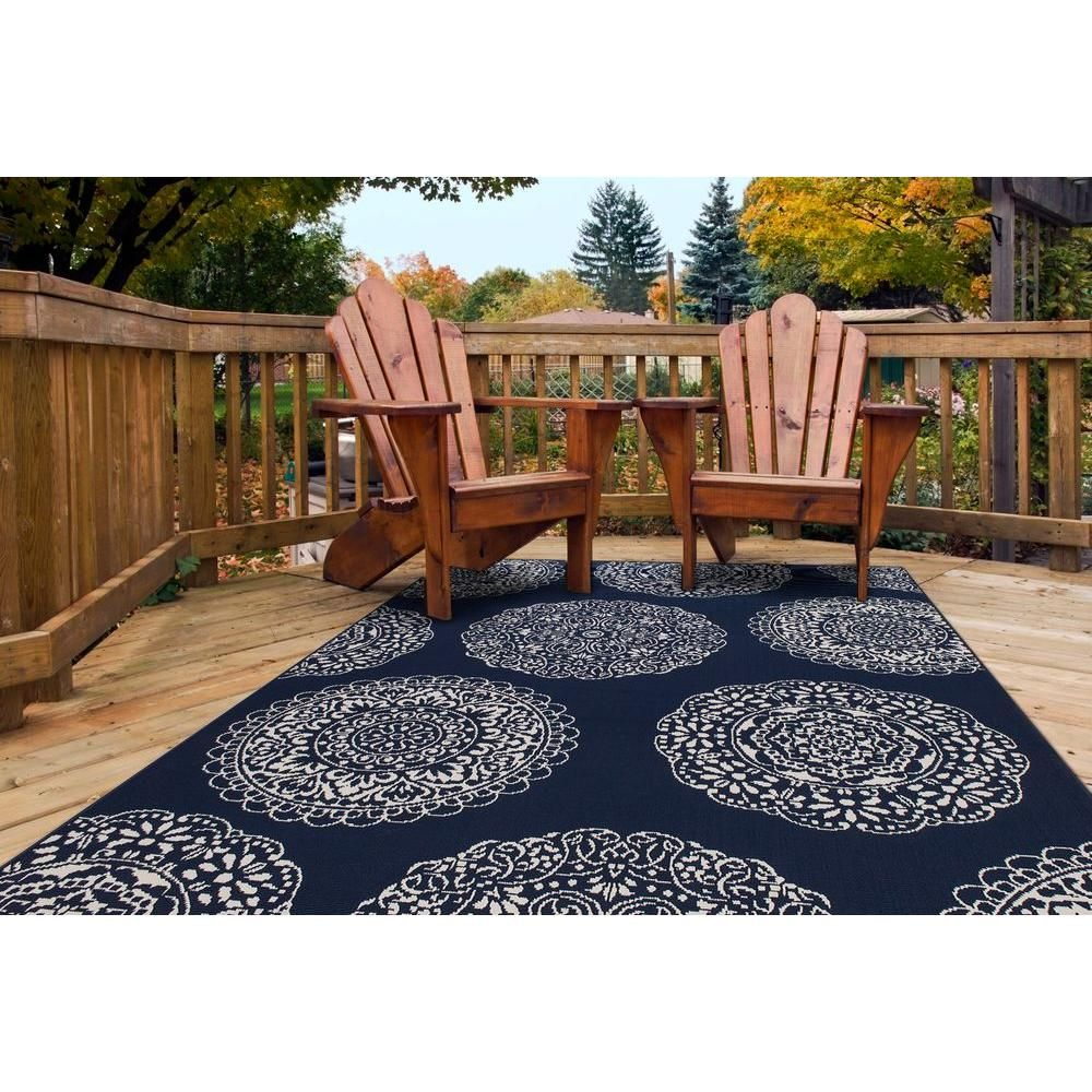 Bay outdoor furniture for your patio and garden hampton bay outdoor - Complement Your Living Space By Adding This Hampton Bay Medallion Navy And Ivory Indoor Or Outdoor Area Rug