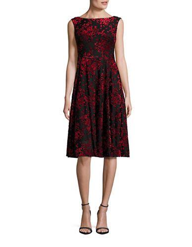 Betsey Johnson Floral Velvet Midi Dress Women\'s Black/Crimson 6 ...
