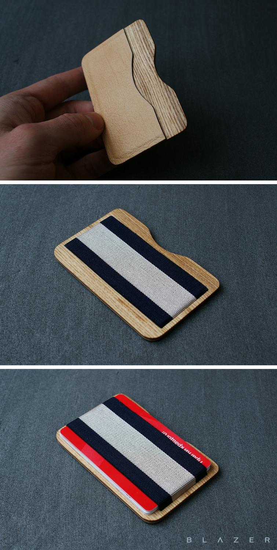 Card holder wallet leather slim wallet wood wallet mens wallet mens ...