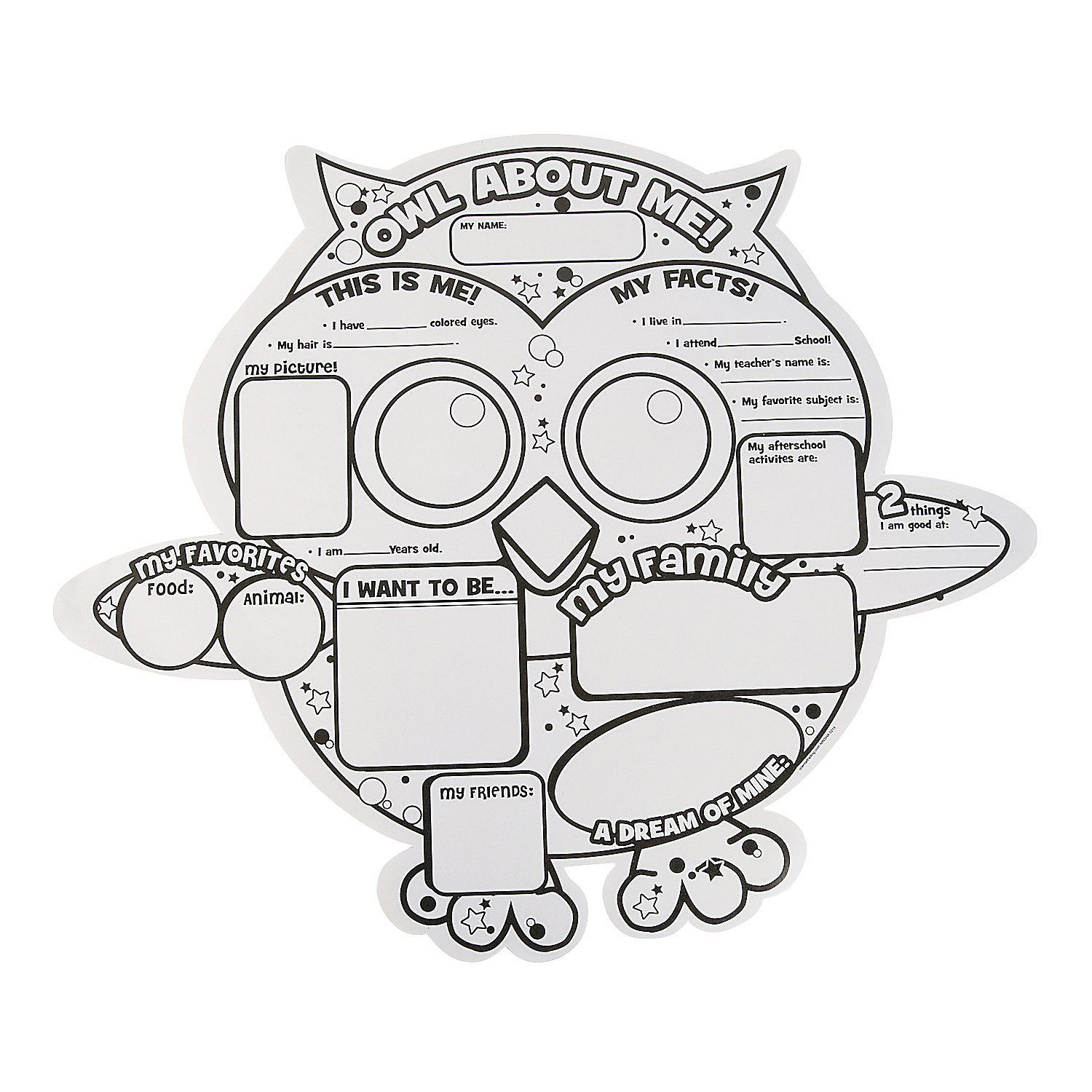 """Color Your Own """"All About Me"""" Owl Posters 