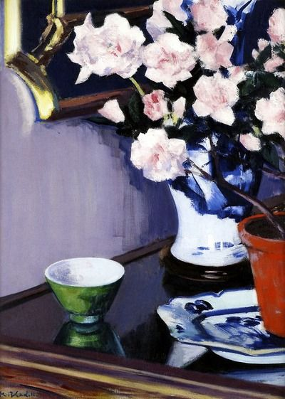 The Pink Azaleas, FCB Cadell  Oil on Canvas, c. 1924.  Francis Campbell Boileau Cadell, Scottish.