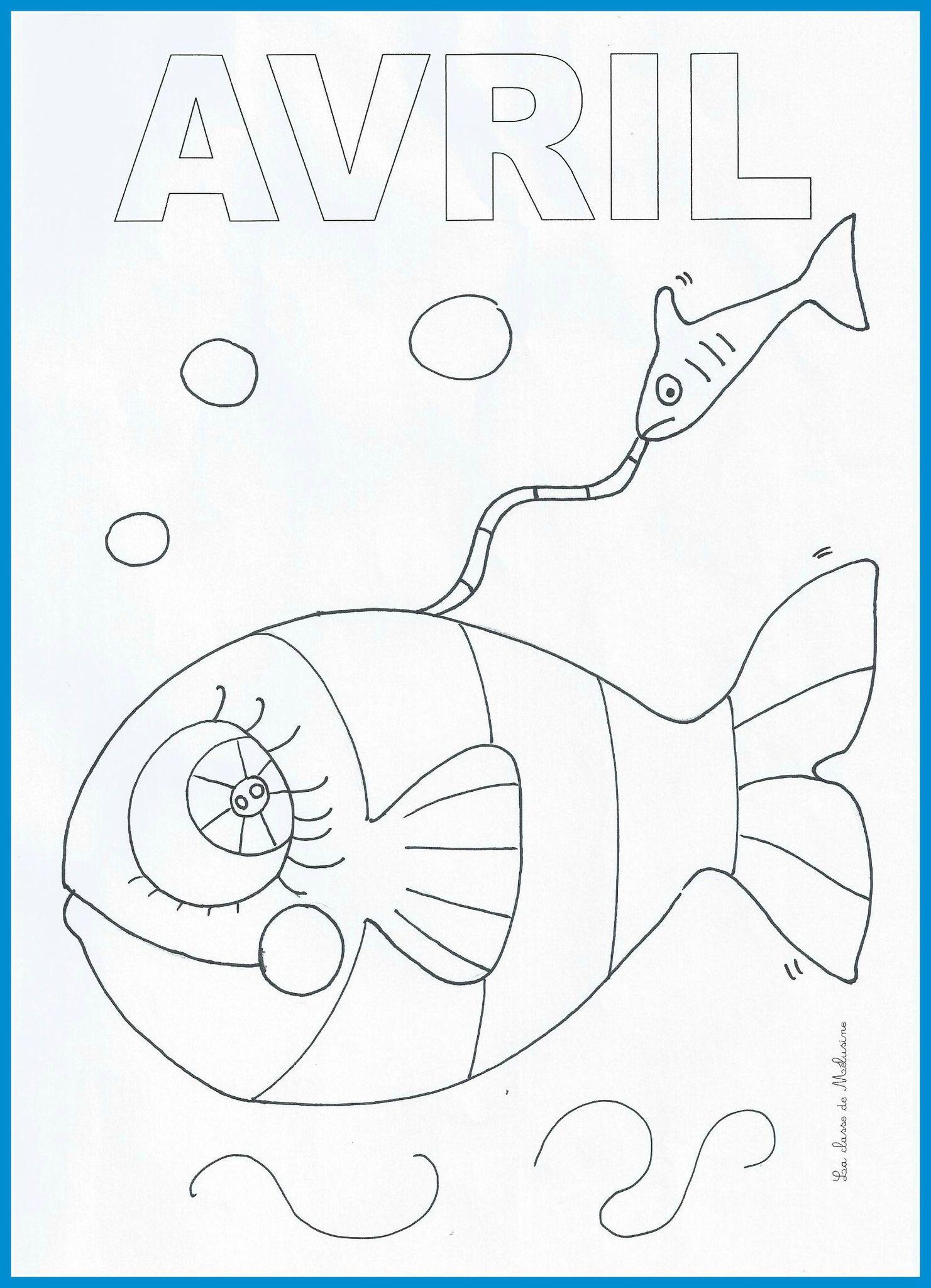 Petit coloriage un peu tardif pour ce début d avril mais pas eu le temps de mettre en ligne plus t´t poisson d avril Mélusine