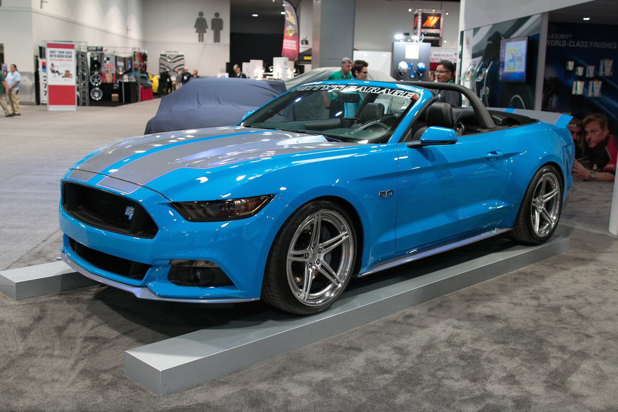 Blue Convertible Ford Mustang Dressed Up In Body Kit Ford
