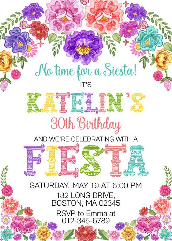 Mexican Birthday Invitation Fiesta Party 30th 40th 50th 60th