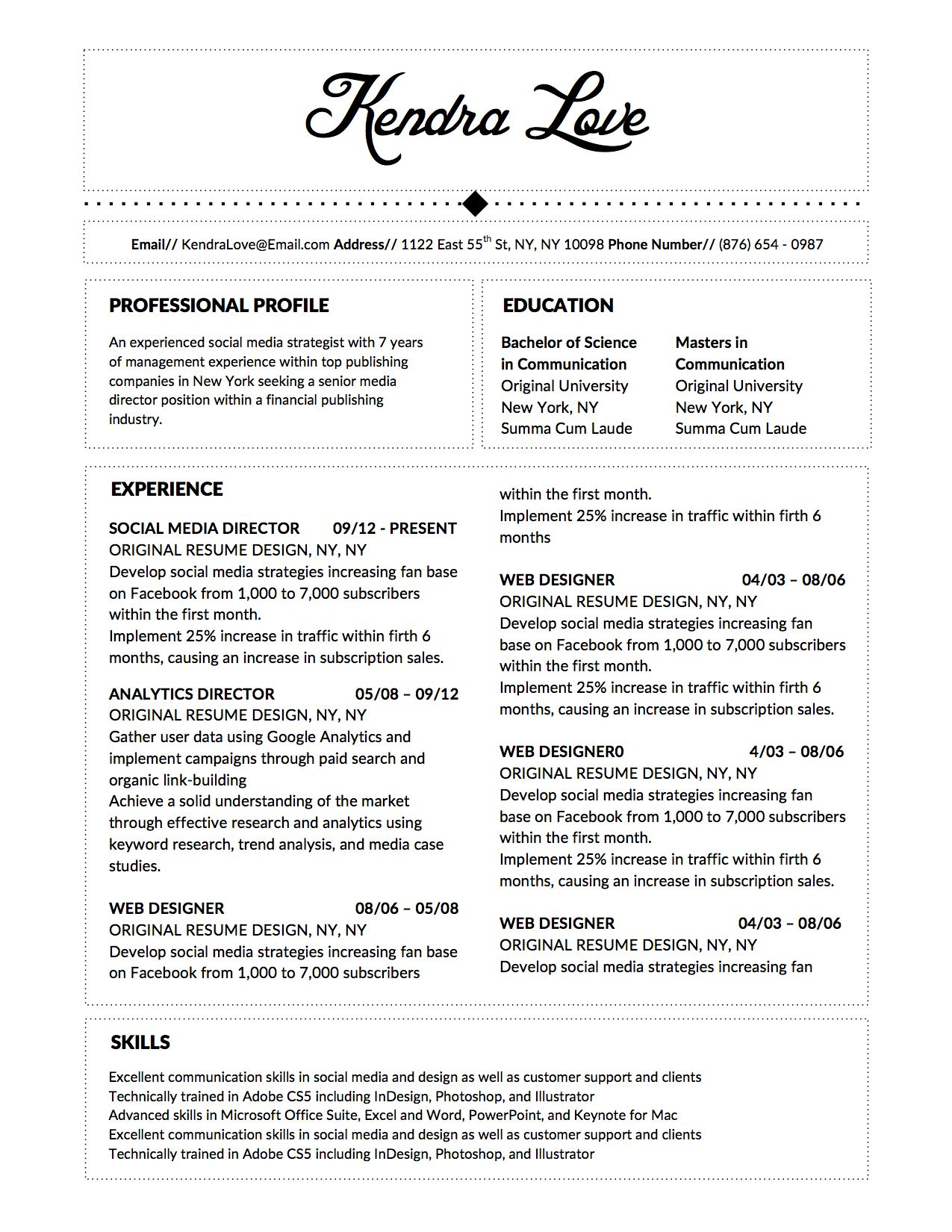 Kendra Love Resume Template for Microsoft Word Resume