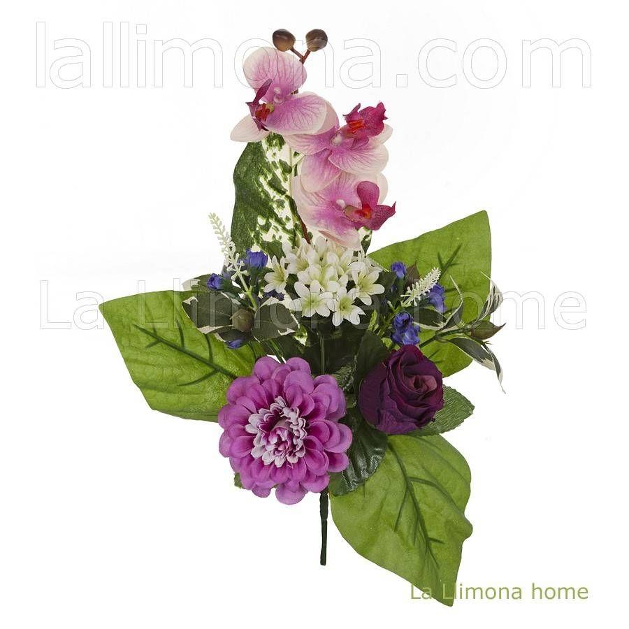 Ramo artificial flores orquideas zinnia rosa malva 35