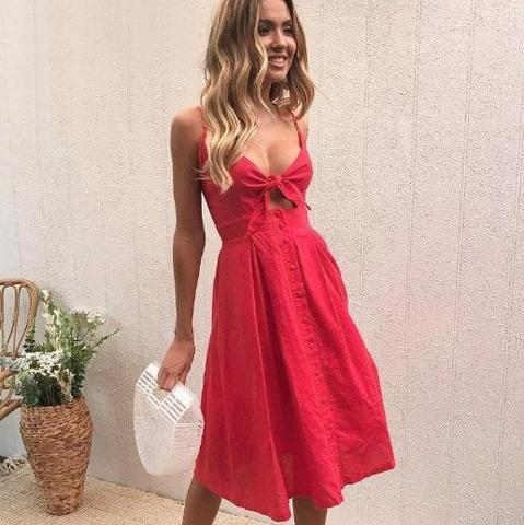 b5a3272043fb Material: Cotton Silhouette: Fit and Flare Sleeve Length(cm): Sleeveless  Decoration: Bow Dresses Length: Knee-Length Sleeve Style: Spaghetti Strap  Neckline: ...