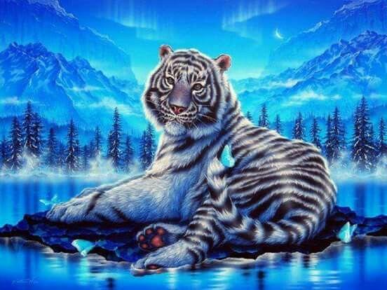 Weisser Tiger Im Fluss Liegend Tierbilder Ausgestopftes Tier Tierwelt Kunst
