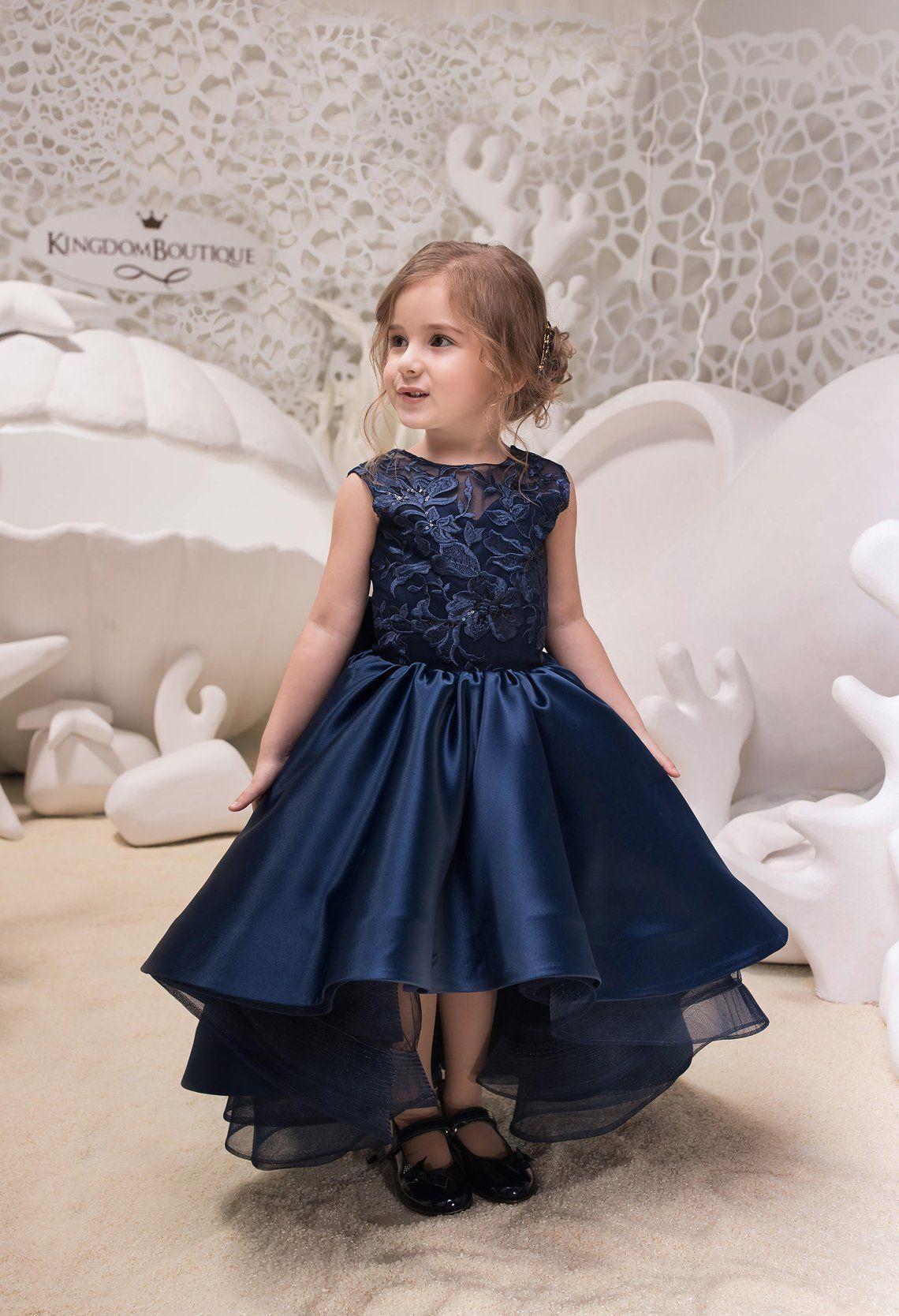 Navy Blue High Low Satin Flower Girl Dress , Wedding Holiday