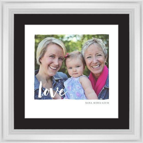 Love Script Overlay Framed Print, White, Classic, White, Black, Single piece, 16 x 16 inches, White