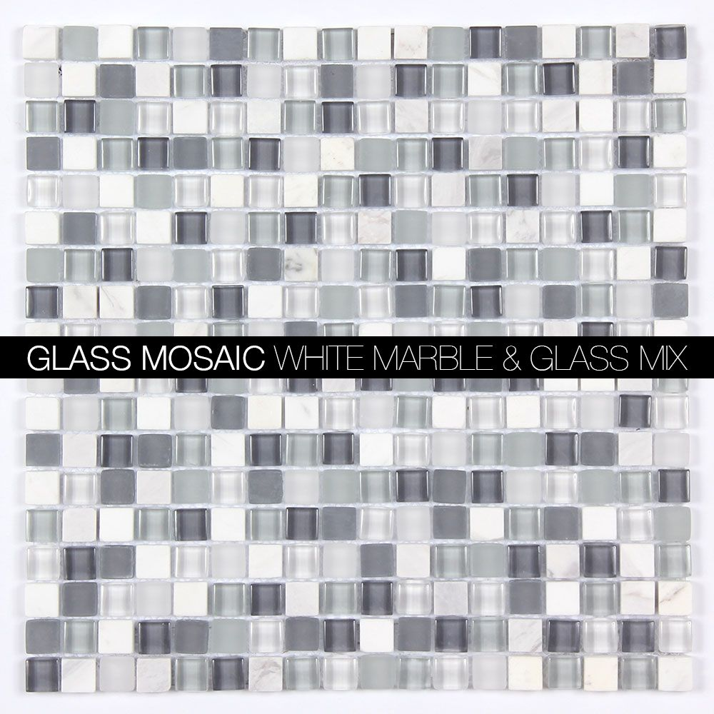 Allmarbletiles Mag 001 Sq Arabescato Polished Marble Frosted Glass And Clear Glass Mix 12x12 Mosaic Tile Htt Mosaic Glass Glass Mosaic Tiles Marble Mosaic
