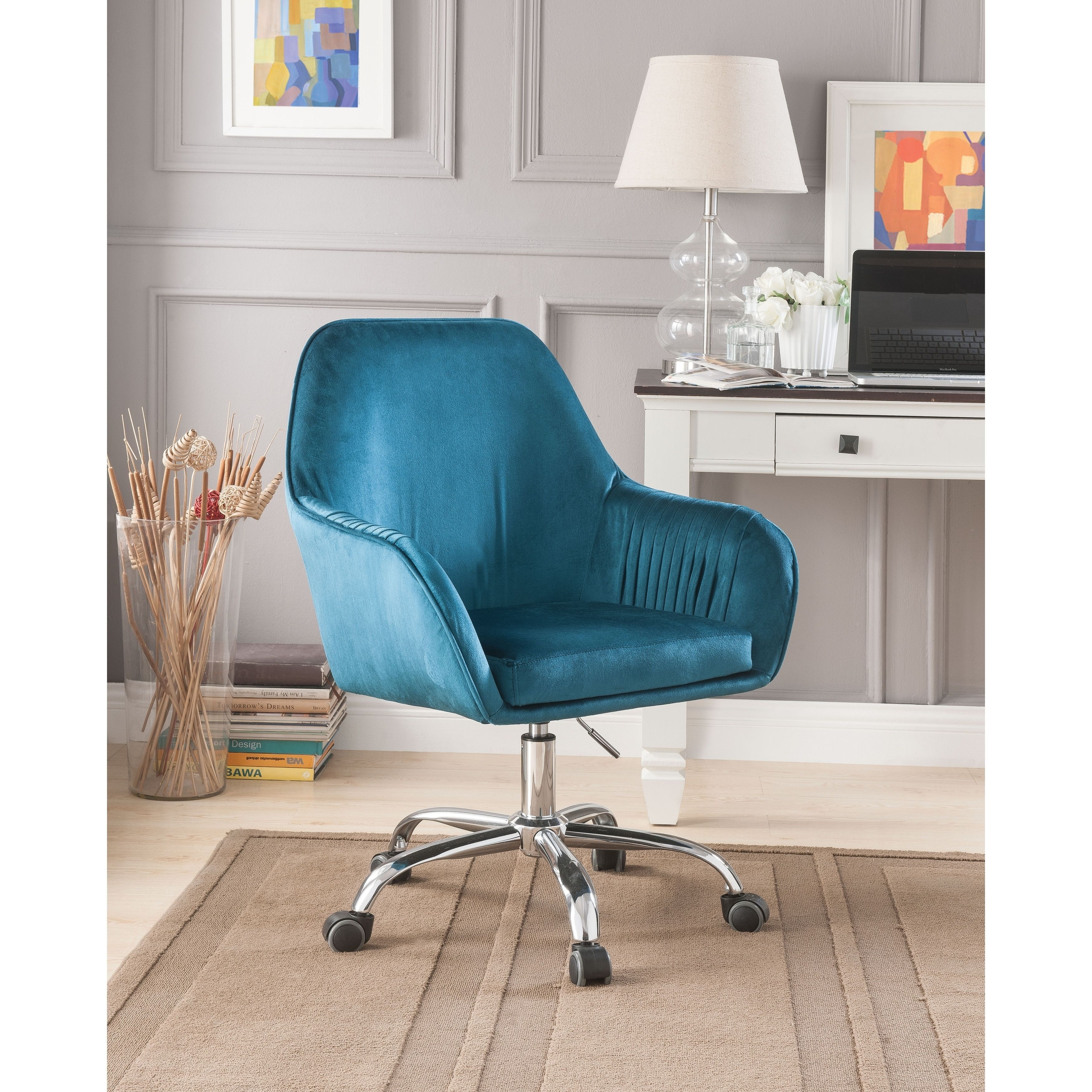 Adjustable Velvet Upholstered Swivel Office Chair With Slopped Armrests Blue And Silver Benzara Contemporary Office Chairs Velvet Office Chair Conference Chairs