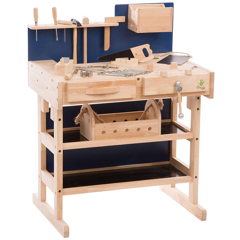 Kinder Werkbank Aus Massivholz Mit Werkzeug Set Und Werkzeugkiste Hobelbank Braun Blau Amazon De Spielzeug Werkbank Kinder Werkbank Kinderwerkbank