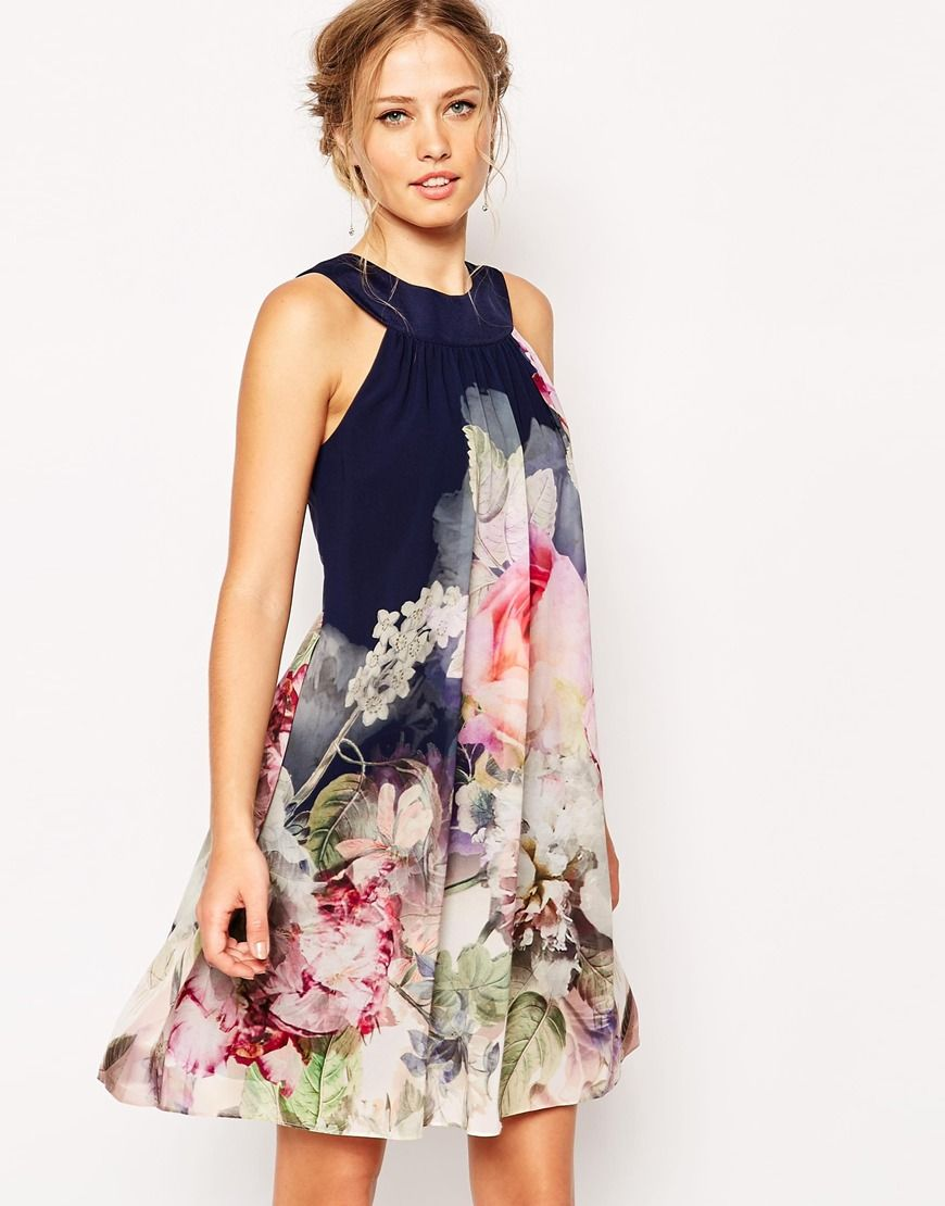 c4158cfa77 Image 1 of Ted Baker Swing Dress in Ombre Peony Print