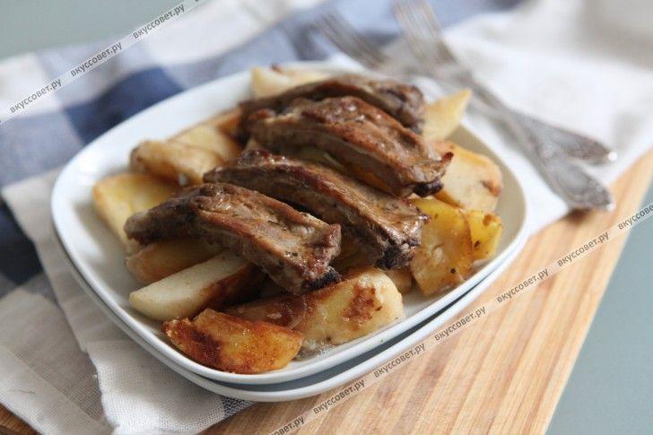 ребрышки в духовке с картошкой пошаговый рецепт с фото