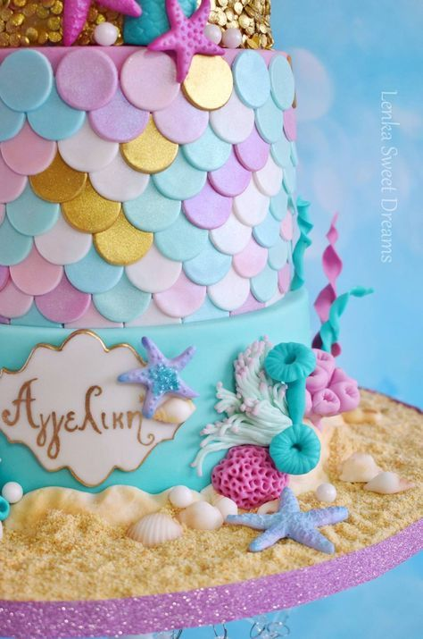 Ocean And A Mermaid Cake For A Little Girls Birthday Party