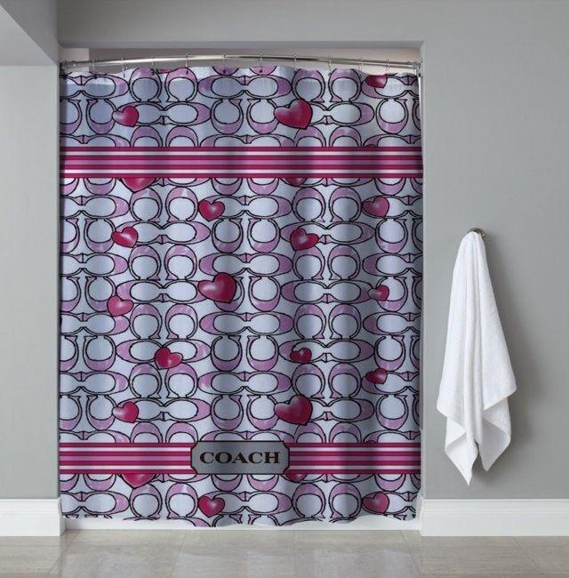Rare Coach Pink Custom Logo High Quality Shower Curtain 60 X72
