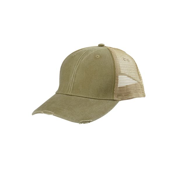 Adams 6-Panel Pigment-Dyed Distressed Trucker Cap... Adams 6-Panel  Pigment-Dyed Distressed Trucker Cap. 100% cotton front panel and visor. 7a90b36a38b4