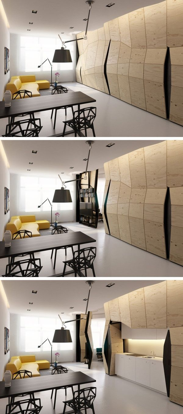 Modern sculptural wall divider designed by vlad mishin unfolds to
