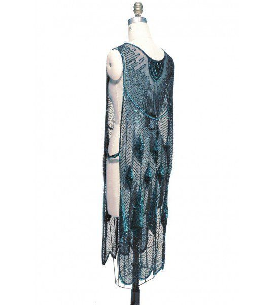 Art Deco Gemstone Party Dress In Tourmaline Jet By The Deco