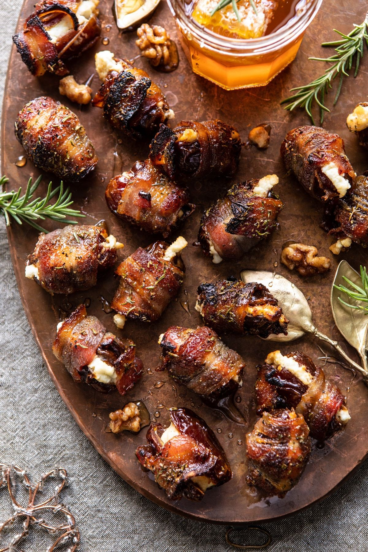Goat Cheese Stuffed Bacon Wrapped Dates with Rosem