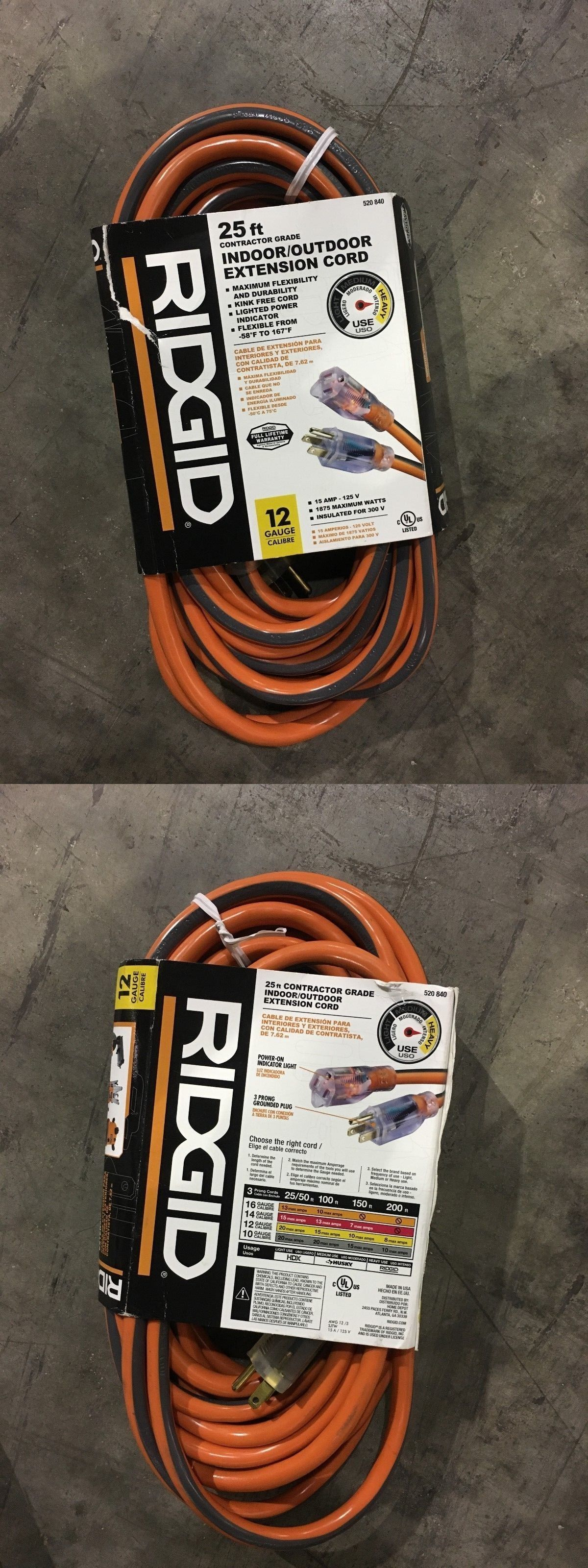 Extension cords 75577 extension cord ridgid 25 ft 12