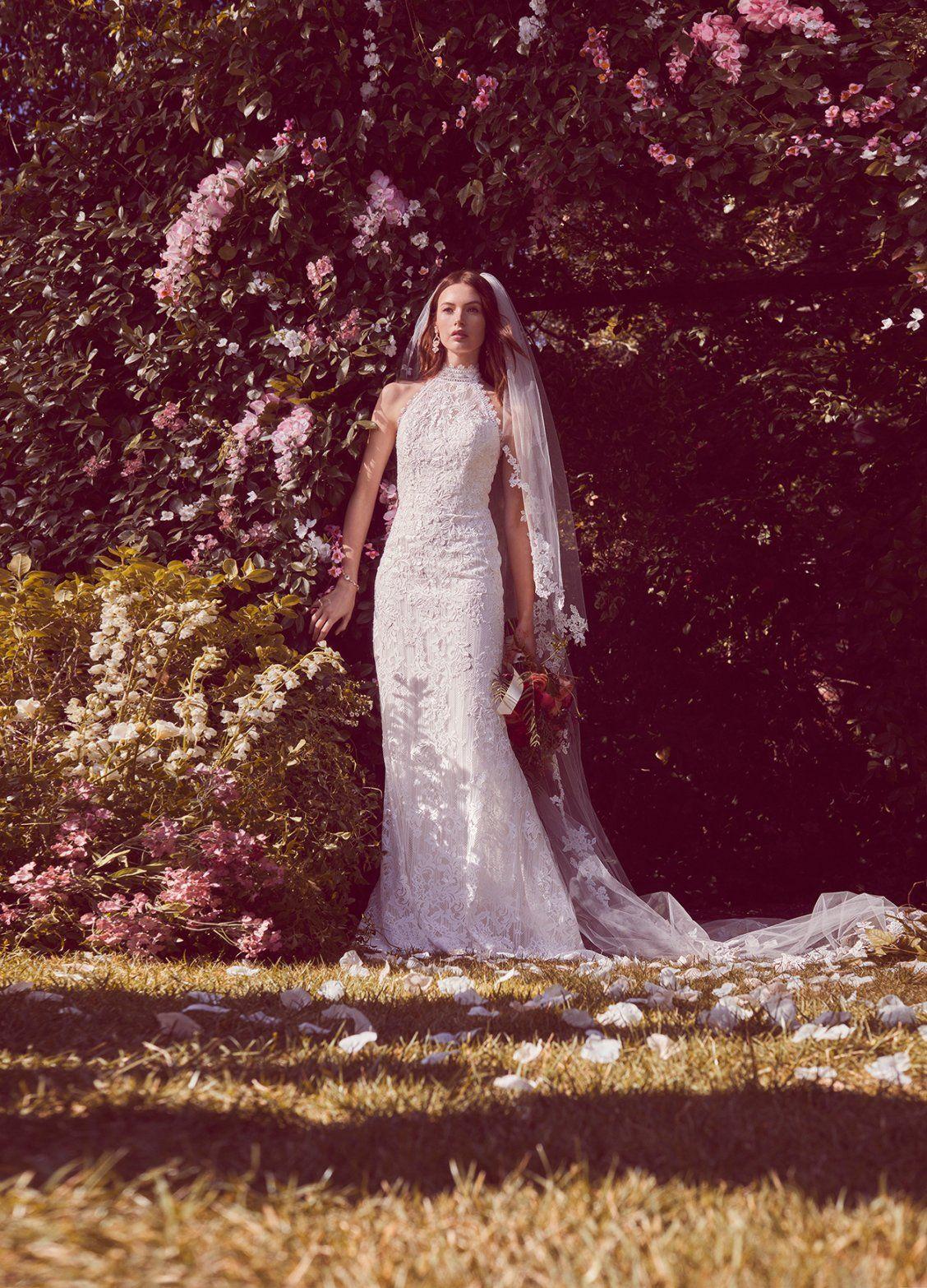 Lace High Neck Halter Sheath Wedding Dress Halter Wedding Dress
