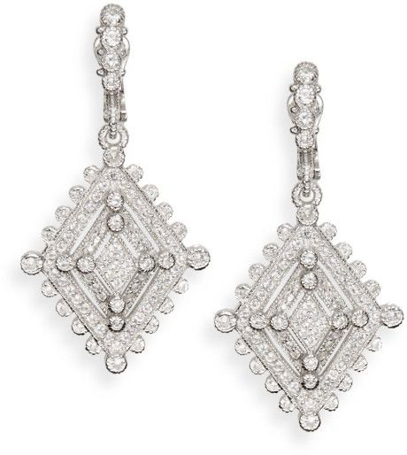 Judith Ripka White Sapphire Sterling Silver Deco Drop Earrings in Silver