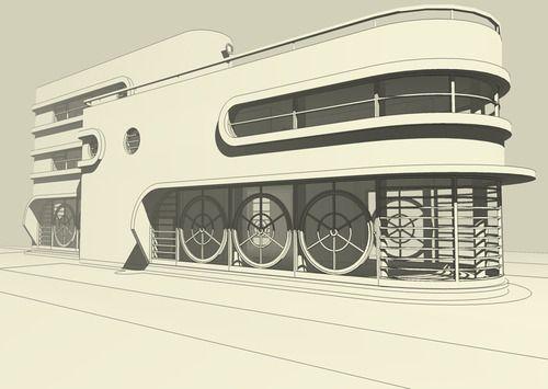 3d digital design of a streamline moderne villa for Streamline moderne house plans